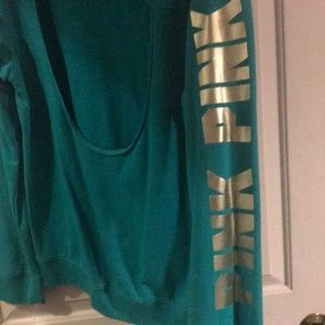 PINK Victoria's Secret Sweaters - Pink by Victoria Secret teal sweat with cut out